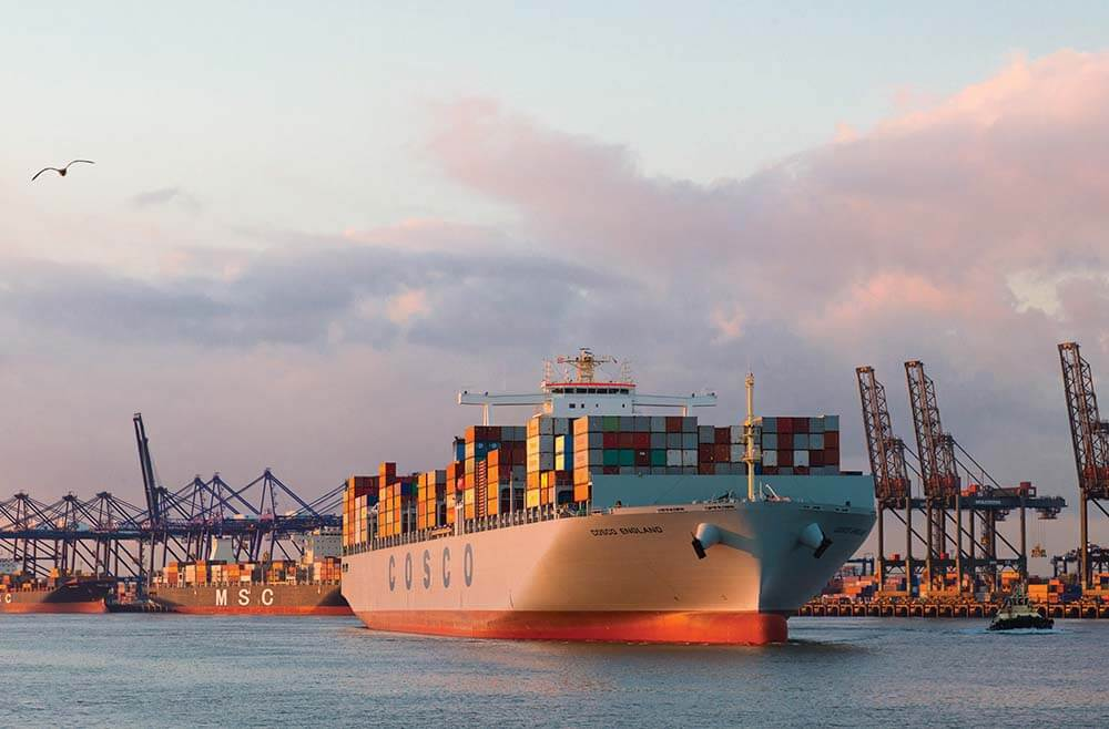 container ship with express freight